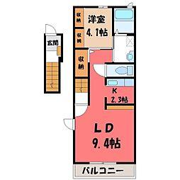 栃木県下都賀郡壬生町大師町の賃貸アパートの間取り