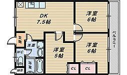 大阪府堺市中区小阪の賃貸マンションの間取り