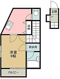 西武新宿線 花小金井駅 徒歩3分の賃貸アパート 2階1Kの間取り
