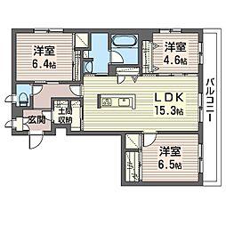 エミナール那珂川 3階3LDKの間取り