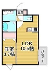 西鉄天神大牟田線 大橋駅 徒歩15分の賃貸マンション 2階1LDKの間取り