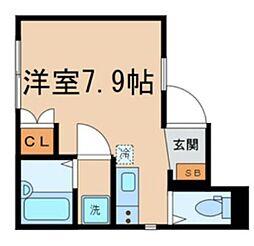 京王線 桜上水駅 徒歩8分の賃貸アパート 1階ワンルームの間取り