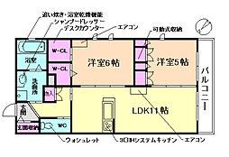 (仮称)豊中市上新田ヘーベルメゾン 3階2LDKの間取り