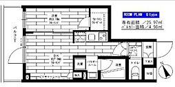 小田急小田原線 経堂駅 徒歩9分の賃貸マンション 3階1DKの間取り