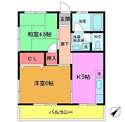 千葉県船橋市本中山3丁目の賃貸マンションの間取り