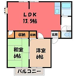 栃木県栃木市片柳町5丁目の賃貸アパートの間取り