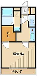 小田急小田原線 小田急相模原駅 徒歩8分の賃貸アパート 2階1Kの間取り