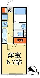 つくばエクスプレス 八潮駅 徒歩15分の賃貸アパート 1階1Kの間取り