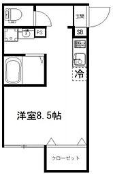 EXCELLENT 1階ワンルームの間取り