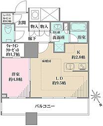 ザ・パークハウス西新宿タワー60 9階1LDKの間取り