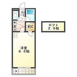 愛知県豊橋市原町字狢山の賃貸アパートの間取り