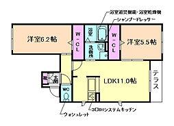 大阪府豊中市刀根山1丁目の賃貸アパートの間取り