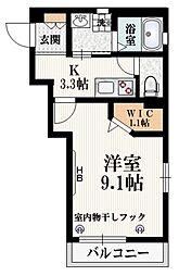 へーベルメゾン上石神井 2階1Kの間取り