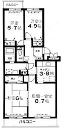 エスポワール松風台II番館[3階]の間取り
