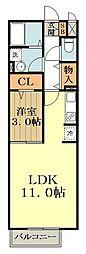 JR中央線 武蔵小金井駅 徒歩13分の賃貸アパート 2階1LDKの間取り