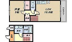 大阪府堺市北区東三国ヶ丘町3丁の賃貸アパートの間取り