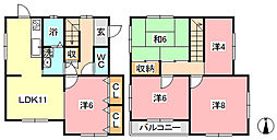 [一戸建] 岡山県倉敷市徳芳 の賃貸【/】の間取り