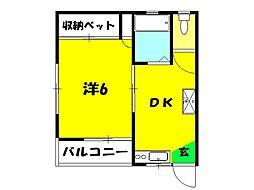 長谷川ハイツ[101号室]の間取り