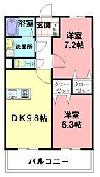 神奈川県平塚市公所の賃貸マンションの間取り