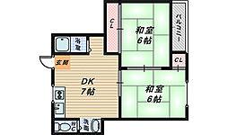 第2三国ヶ丘コーポ[4階]の間取り