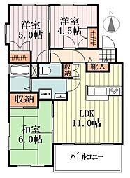 JR五日市線 秋川駅 徒歩20分の賃貸マンション 2階3LDKの間取り