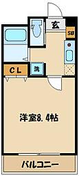 西生田一丁目共同住宅計画(B棟) 2階1Kの間取り