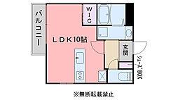 福岡市地下鉄空港線 西新駅 徒歩7分の賃貸マンション 2階ワンルームの間取り