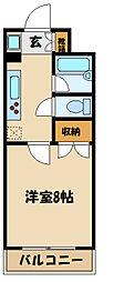 ベルファーム 3階1Kの間取り