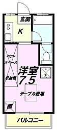 東京都八王子市散田町4丁目の賃貸マンションの間取り