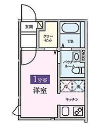 東武野田線 岩槻駅 徒歩6分の賃貸アパート 2階1Kの間取り