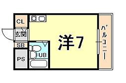 ラフォーレ甲子園 2階ワンルームの間取り
