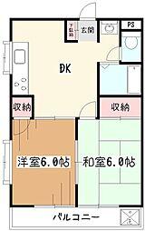 東京都小平市中島町の賃貸マンションの間取り