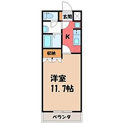 茨城県筑西市小川の賃貸アパートの間取り