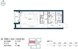 福岡市地下鉄七隈線 渡辺通駅 徒歩9分の賃貸マンション 3階ワンルームの間取り
