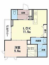 シャーメゾン新坂通 2階1LDKの間取り