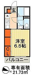 JR外房線 本千葉駅 徒歩2分の賃貸アパート 2階1Kの間取り