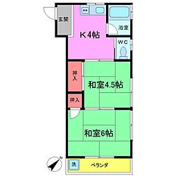 千葉県船橋市本中山5丁目の賃貸アパートの間取り