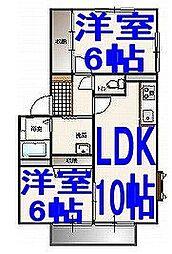 トレフルA[1階]の間取り