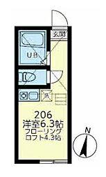 ユナイト浅田エリナーリグビー 2階ワンルームの間取り