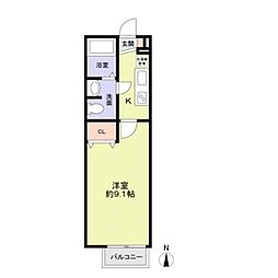 香里パーシーハイツ1階Fの間取り画像