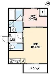 南海線 湊駅 徒歩5分の賃貸アパート 3階1LDKの間取り