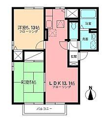 神奈川県横浜市都筑区茅ケ崎東1丁目の賃貸アパートの間取り