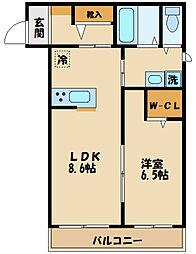 JR南武線 中野島駅 徒歩12分の賃貸アパート 2階1LDKの間取り
