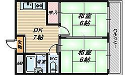 大阪府堺市西区平岡町の賃貸マンションの間取り