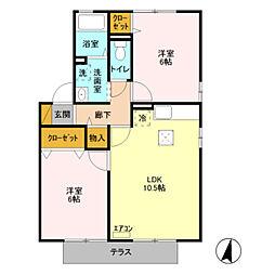 埼玉県八潮市緑町2丁目の賃貸アパートの間取り