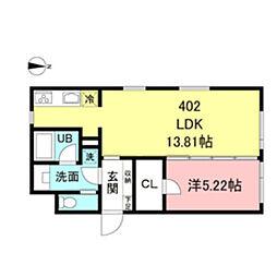 都営新宿線 新宿駅 徒歩5分の賃貸マンション 4階1LDKの間取り