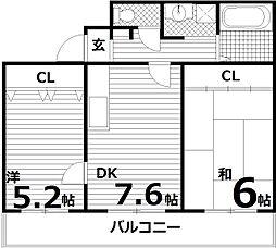 クレール菊水[3階]の間取り