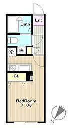 Nasic永山 4階ワンルームの間取り