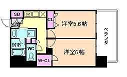 エステムプラザ福島ジェネル 2階2Kの間取り