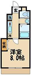 JR中央線 日野駅 徒歩12分の賃貸アパート 1階1Kの間取り
